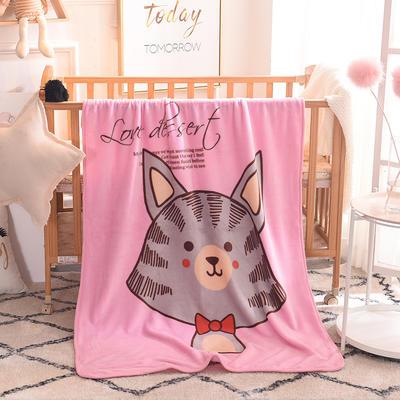 儿童单层法莱绒披肩毛毯子盖毯 100cmx140cm 领结猫