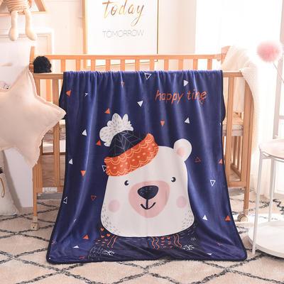 儿童单层法莱绒披肩毛毯子盖毯 100cmx140cm 三角熊