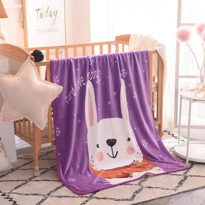 儿童单层法莱绒披肩毛毯子盖毯 100cmx140cm 小白兔