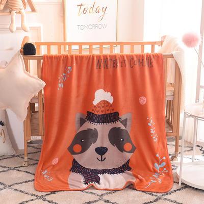 儿童单层法莱绒披肩毛毯子盖毯 100cmx140cm 小浣熊
