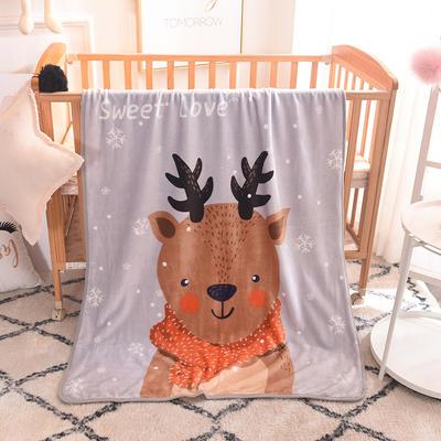 儿童单层法莱绒披肩毛毯子盖毯 100cmx140cm 小鹿