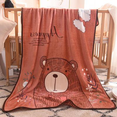 儿童单层法莱绒披肩毛毯子盖毯 100cmx140cm 云朵熊