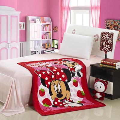 儿童双层法莱绒披肩毛毯子盖毯 100cmx140cm 草莓米奇