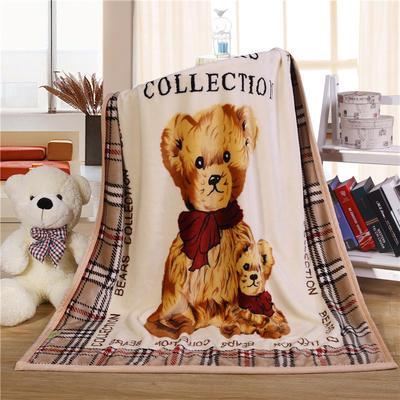 儿童双层法莱绒披肩毛毯子盖毯 100cmx140cm 格子熊