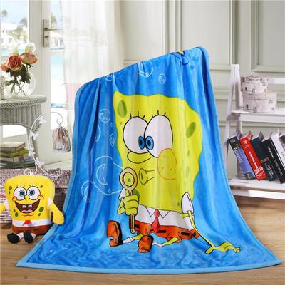 儿童双层法莱绒披肩毛毯子盖毯 100cmx140cm 海绵宝宝