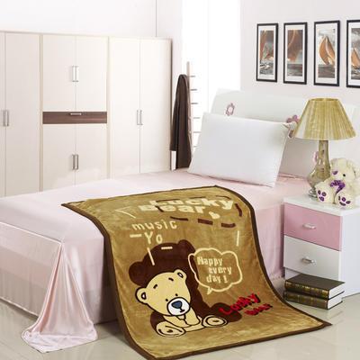 儿童双层法莱绒披肩毛毯子盖毯 100cmx140cm 幸运小熊