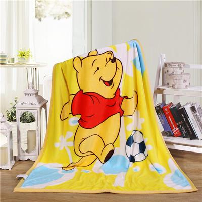 儿童双层法莱绒披肩毛毯子盖毯 100cmx140cm 足球维尼熊
