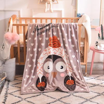 儿童双层法莱绒披肩毛毯子盖毯 100cmx140cm 爱心猫头鹰