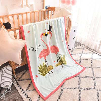 儿童双层法莱绒披肩毛毯子盖毯 100cmx140cm 火烈鸟