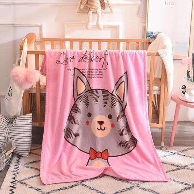 儿童双层法莱绒披肩毛毯子盖毯 100cmx140cm 领结猫