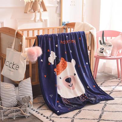 儿童双层法莱绒披肩毛毯子盖毯 100cmx140cm 三角熊