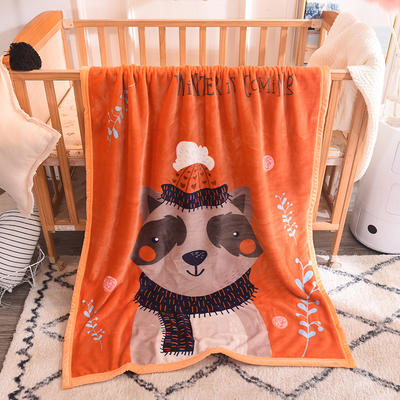 儿童双层法莱绒披肩毛毯子盖毯 100cmx140cm 小浣熊