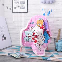 爱她美  儿童双层羊羔绒披肩毛毯子盖毯 100cmx140cm KT宝贝