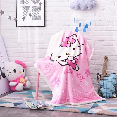 儿童双层羊羔绒披肩毛毯子盖毯 100cmx140cm 粉KT