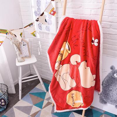 儿童双层羊羔绒披肩毛毯子盖毯 100cmx140cm 蜂蜜维尼熊