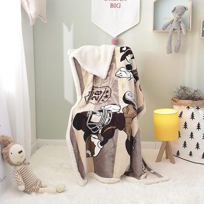 儿童双层羊羔绒披肩毛毯子盖毯 100cmx140cm 橄榄球米奇
