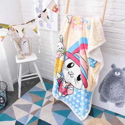 儿童双层羊羔绒披肩毛毯子盖毯 100cmx140cm 小猫咪