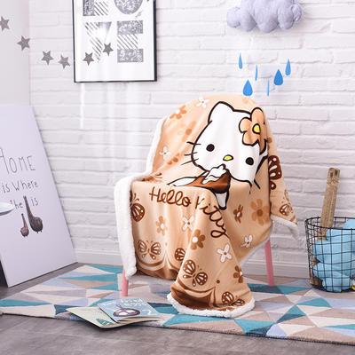 儿童双层羊羔绒披肩毛毯子盖毯 100cmx140cm 棕KT