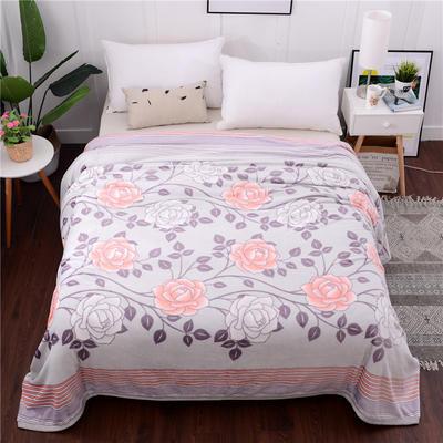 云貂绒加厚法莱绒毛毯子盖毯 70cmX100cm(折边花型随机) 线条牡丹