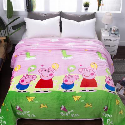 云貂绒加厚法莱绒毛毯子盖毯 70cmX100cm(折边花型随机) 小猪佩奇