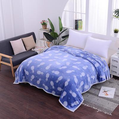 云貂绒加厚法莱绒毛毯子盖毯 70cmX100cm(折边花型随机) 菠萝