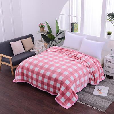 云貂绒加厚法莱绒毛毯子盖毯 70cmX100cm(折边花型随机) 粉小格