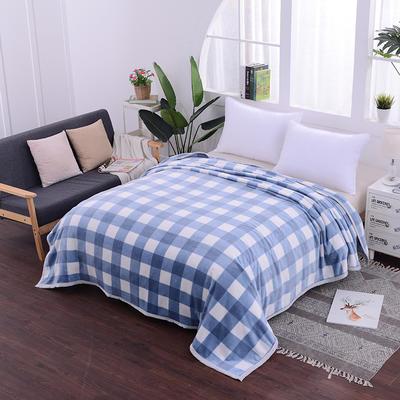 云貂绒加厚法莱绒毛毯子盖毯 70cmX100cm(折边花型随机) 蓝小格