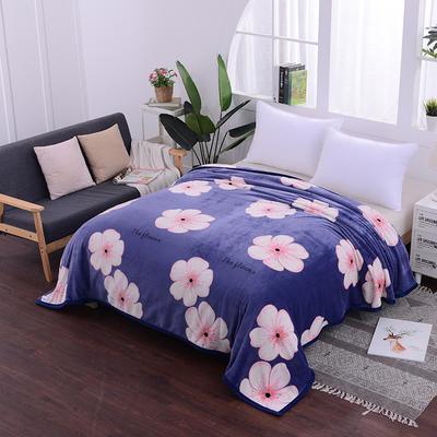 云貂绒加厚法莱绒毛毯子盖毯 200cmX230cm 蓝底桃花