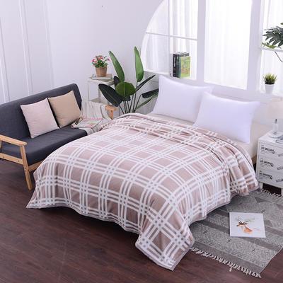 云貂绒加厚法莱绒毛毯子盖毯 70cmX100cm(折边花型随机) 驼大格