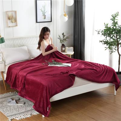 280g纯色金貂绒系列毛毯 120*200cm 酒红