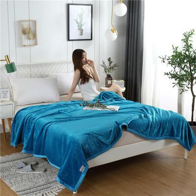 280g纯色金貂绒系列毛毯 120*200cm 孔雀蓝