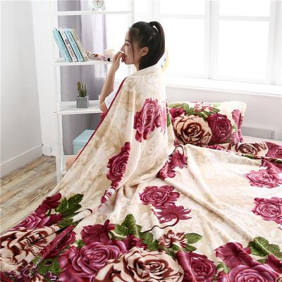 300g金貂绒系列加厚包边法莱绒盖毯毛毯子 150*200cm 定位牡丹