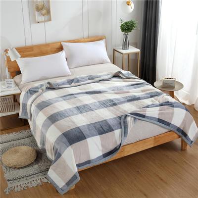 300g金貂绒系列加厚包边法莱绒盖毯毛毯子 120*200cm 灰大格