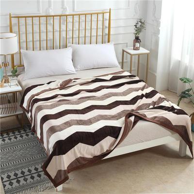 300g金貂绒系列加厚包边法莱绒盖毯毛毯子 150*200cm 曲纹咖