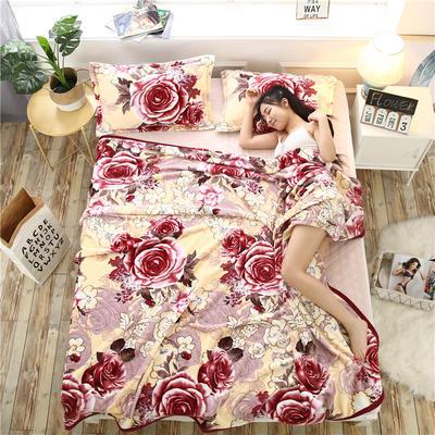 300g金貂绒系列加厚包边法莱绒盖毯毛毯子 150*200cm 重影玫瑰