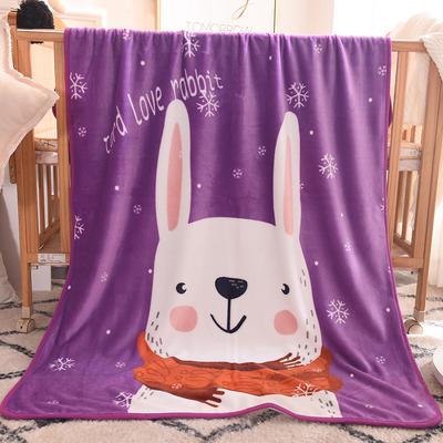 单层加厚云貂绒童毯 100*140cm单层 小白兔
