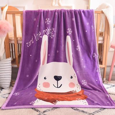 双层加厚云貂绒童毯 100*140cm双层 小白兔