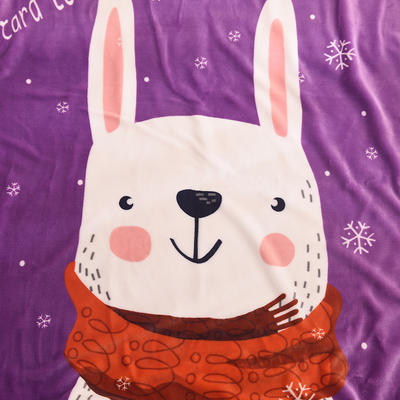 新款羊羔绒卡通毯 100*140cm羊羔绒 紫兔