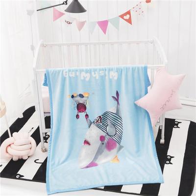 單層加厚云貂絨童毯 100*140cm單層 鯊魚