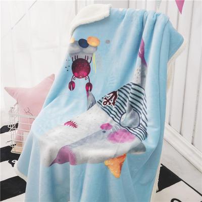 新款羊羔绒卡通毯 100*140cm羊羔绒 鲨鱼