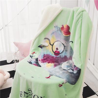 新款羊羔绒卡通毯 100*140cm羊羔绒 小鸟