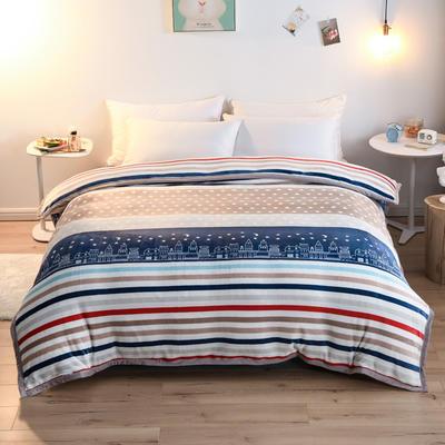 2019新款云貂绒加厚双层毛毯隐形拉链包边被套 180x220cm 爱的城堡
