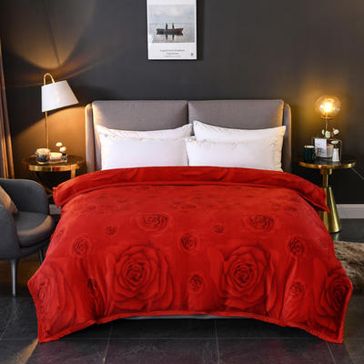 2019新款云貂绒加厚被套系列 150x200cm 大红玫瑰