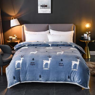 2019新款云貂绒加厚双层毛毯隐形拉链包边被套 150x200cm 灰小鹿