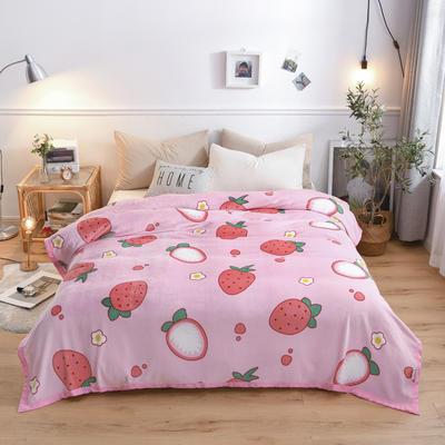 300g金貂绒系列加厚包边法莱绒盖毯毛毯子 150*200cm 草莓