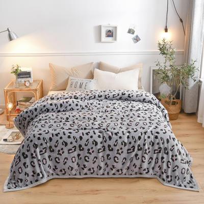 300g金貂绒系列加厚包边法莱绒盖毯毛毯子 150*200cm 灰豹点