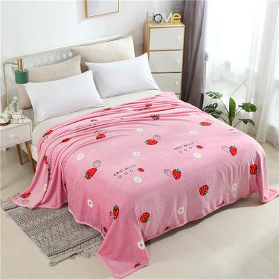 云貂绒加厚法莱绒毛毯子盖毯 120cmX200cm 草莓