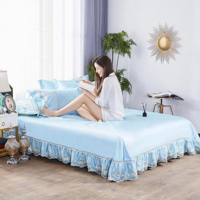 2019新款冰丝欧式蕾丝花边床裙凉席三件套 250*250 水晶之恋-蓝