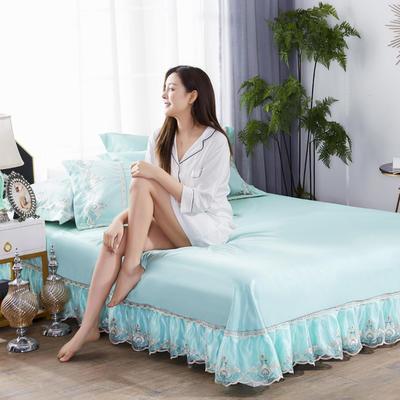 2019新款冰丝欧式蕾丝花边床裙凉席三件套 250*250 水晶之恋-绿