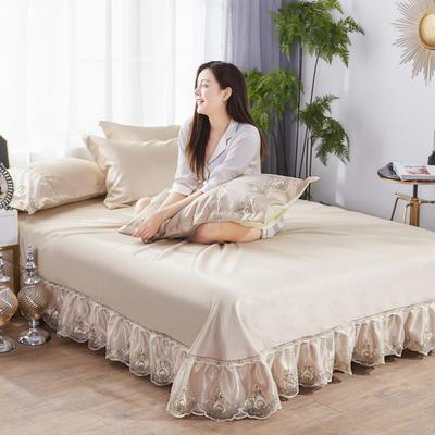 2019新款冰丝欧式蕾丝花边床裙凉席三件套 250*250 水晶之恋-浅驼